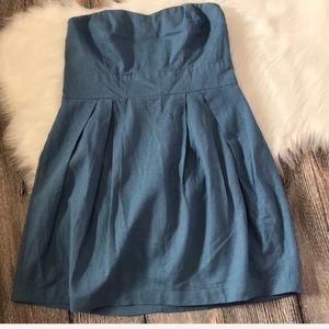 Linen Blend strapless long Chambray color top